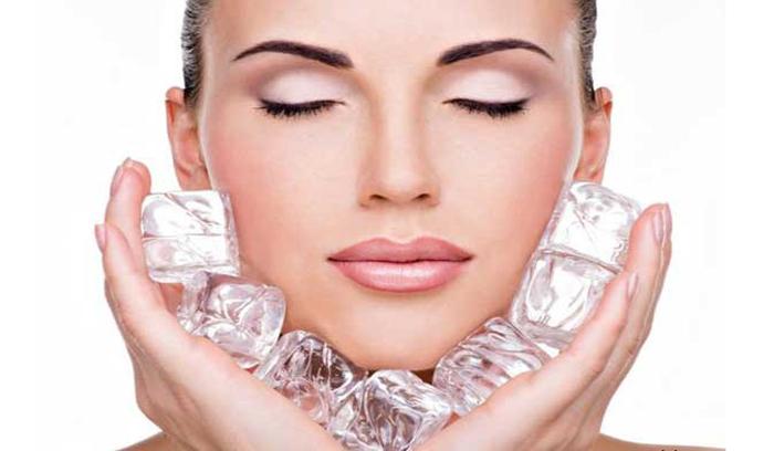 درمان قطعی لک و آکنه صورت با یخ